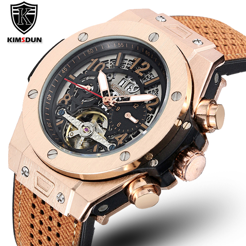 NEW Automatic Self Wind Mechanical Rose Gold Silver Black Case Brown Leather Rubber Strap Casual Sports Geneve Watch