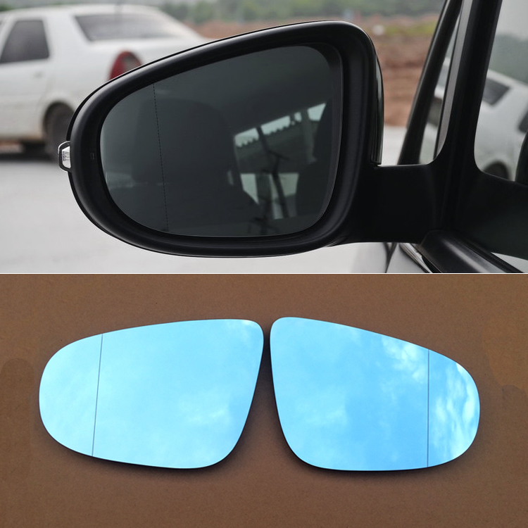 Ipoboo 2pcs New Power Heated w/Turn Signal Side View Mirror Blue Glasses For Volkswagen Touran