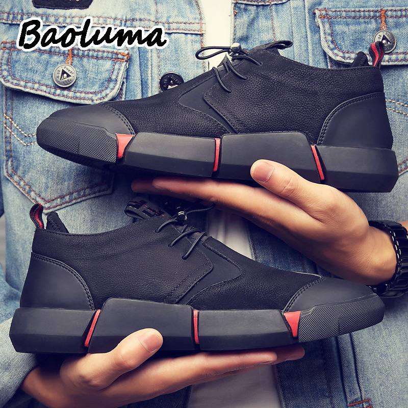 Men's Brand High Quality Leather Casual Shoes Lace-Up Lightweight Men Shoes  Breathable Male Ultra Light Walking Shoes