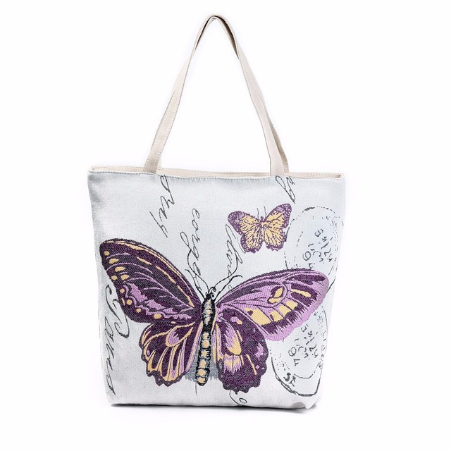 Charming Nice Ocardian Erfly Printed Canvas Tote Casual Beach Bags Women Ping Bag Handbags Best Gift