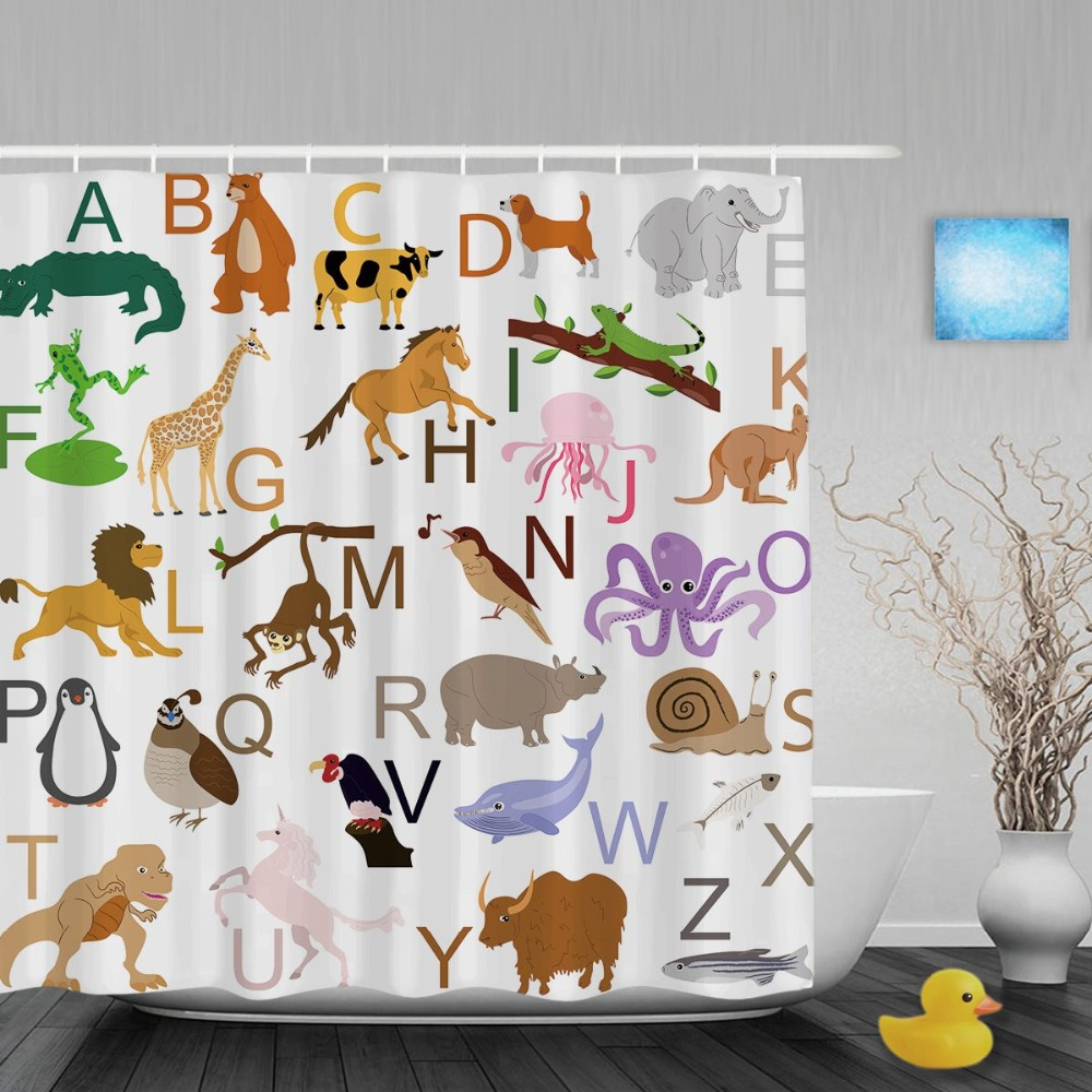 Great Animals Educational Alphabet Letters Kids Shower Cutains Baby Nursery  Bathroom Curtains Polyester Waterproof Fabric With Hooks