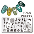 1Pc BORN PRETTY Nail Stamping Plate Circus Ferris Wheel Design Nail Art Stamp Template Rectangle Image Plate L042