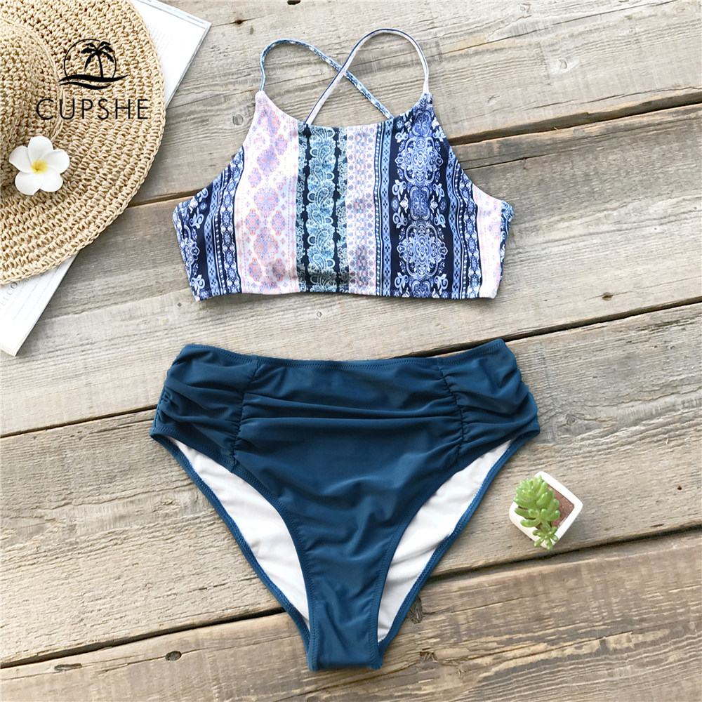 CUPSHE Boho Geo Print Shirring Bikini Set Women Lace Up Shirring Two Pieces Swimsuit 2020 Beach Bathing Suit Swimwear
