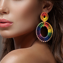 New European and American Bohemian style Rafica hand-woven womens Earrings national wedding fashion earrings jewelry