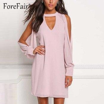 12a2dcda551 Forefair шифоновое платье-рубашка с длинным рукавом с открытыми плечами  женское летнее платье 2019 плюс размер v-образный вырез свободные повседн.