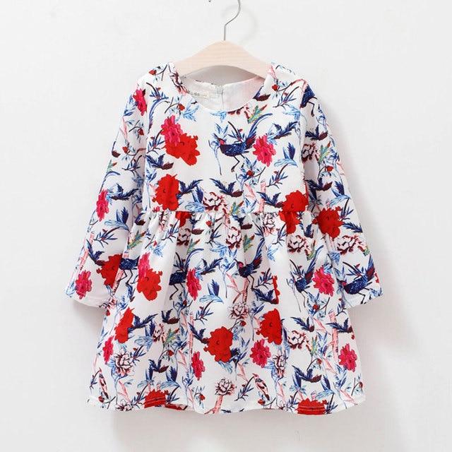 83a63f5f6273 2018 New 2 12T children clothing fashion flower pattern girls long ...