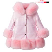 Kids girl's PU leather patchwork fox faux fur collar jacket coat down parkas thicken princess winter outerwear fur coat 7 colour