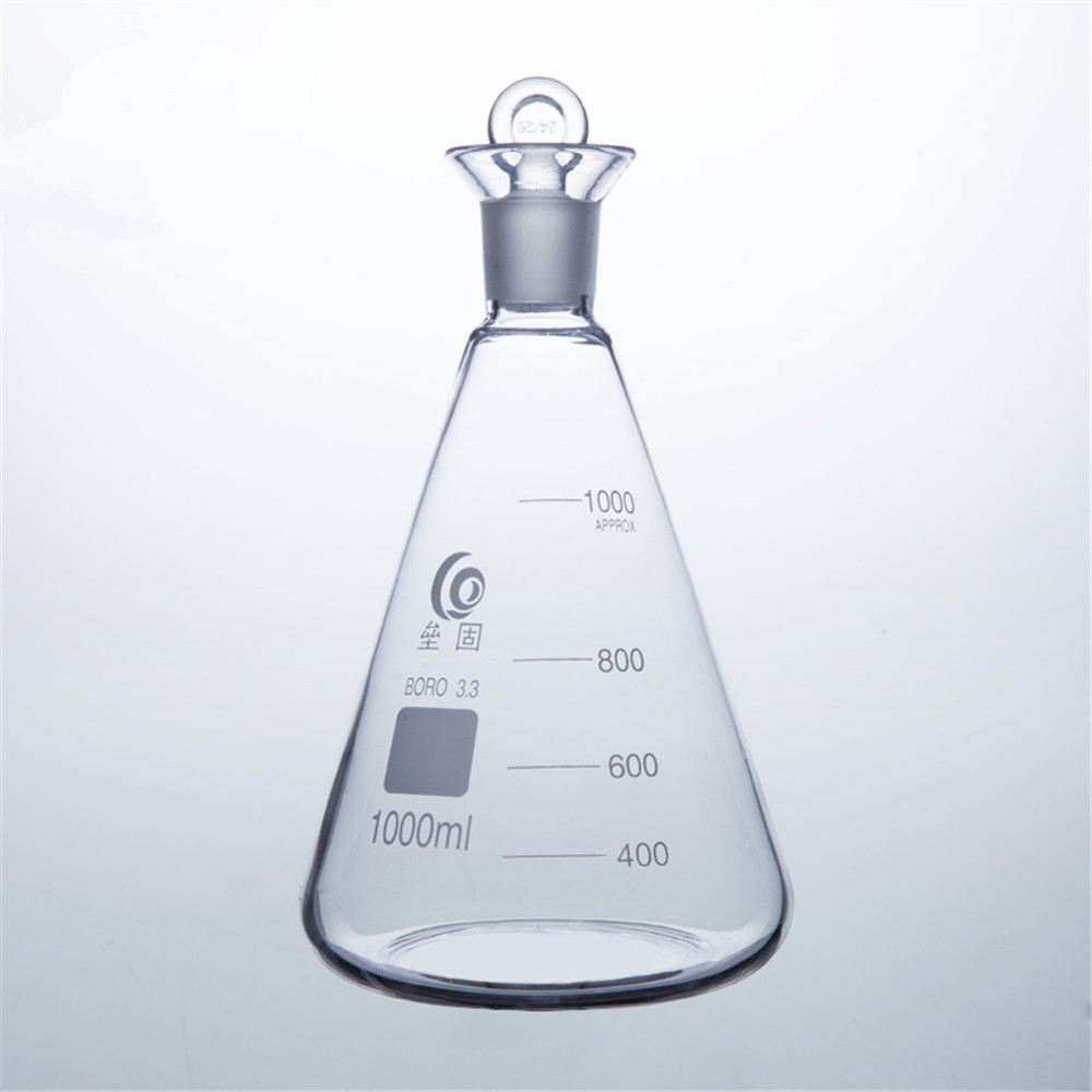 1000ml Iodin Determination Flask Grinding Mouth Conical flask For Chemistry Laboratory trendy slimming round neck short sleeves button design solid color t shirt for men