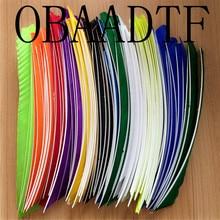 Plume de dinde multicolore, 12 couleurs, 18 25CM, pleine longueur, pour la chasse et le tir à larc, 50pcs