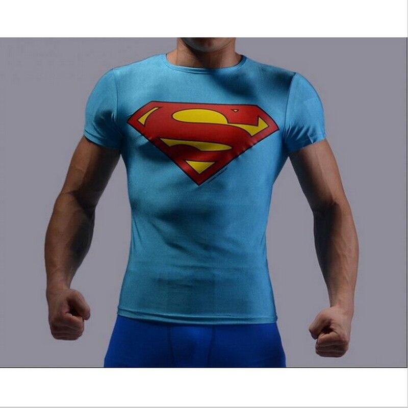 Nueva llegada de moda hombres de la camiseta 3D apretados GYM camiseta  Superman camisetas mens Bodybuilding Tops camisetas 12 estilo envío gratis  en ... f1d44734ab6