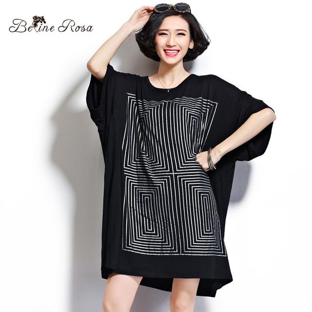 BelineRosa Plus Size Women Tops and Shirts Casual Geometric Maze Short Sleeve Loose Cotton Shirts for Women Fit 2XL~5XL DS0014