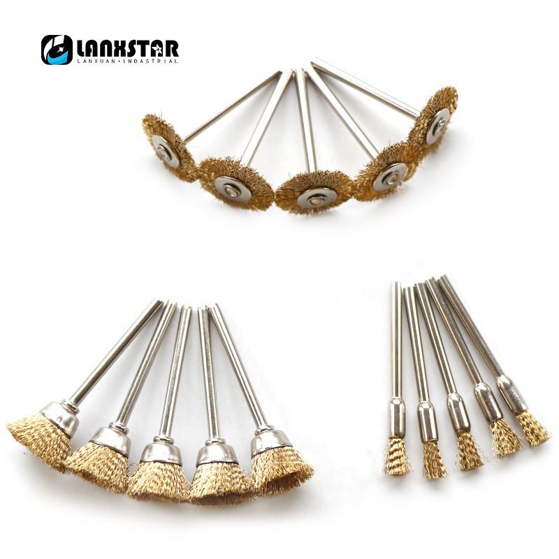 New 15PC Wire Brass Wire Brush Copper Flat Brushes Wheel Dremel Accessories for Rotary Tools Grinding-brush durable steel rod brass wire brush handle grinder deburring for wood steels root polished 8 in 1 copper wire wheel