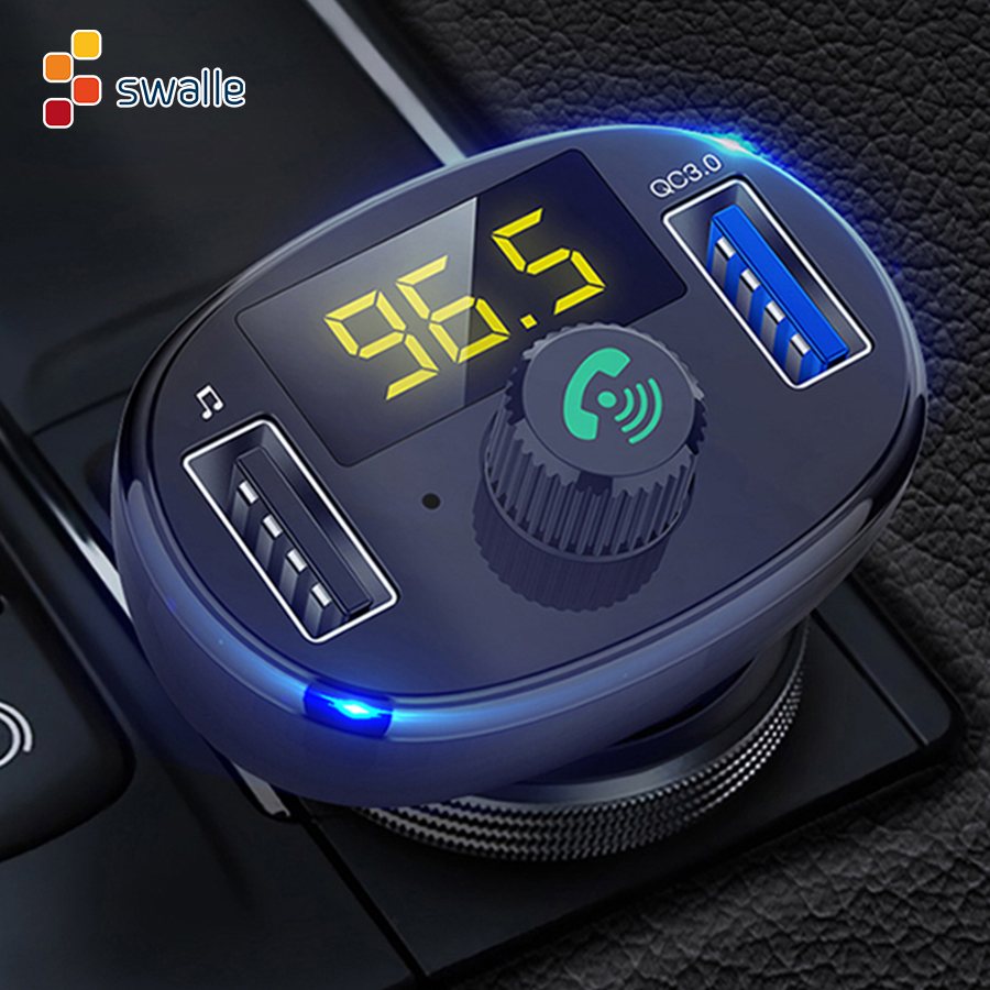 Swalle 2USB FM Transmitter Aux Modulator Bluetooth QC3.0 Quick Car Charger Kit Handsfree Audio MP3 Player 3.4A Fast Mobile Phone
