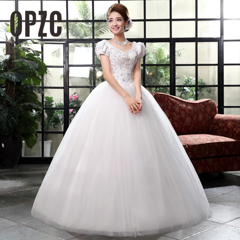 Pregnant women Plue Size Wedding dress Korean Style Bride Bubble Lace Prinness with Bead Wedding dress