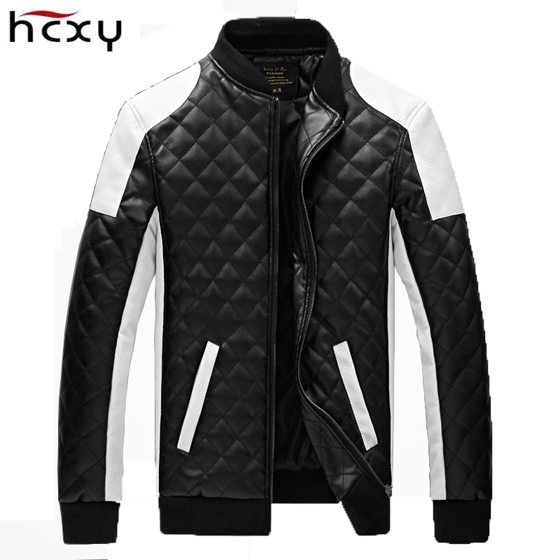 2017 larger yards 6XL Men Quilted Slim faux PU leather jacket men leather softshell jackets men collar mens jackets and coats