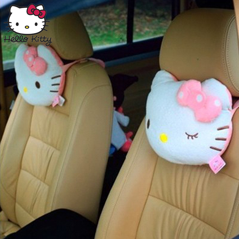 Hello Kitty 2PCS Accessories Car Headrest Pillow Cute KT Pink Auto Safety Seat Rest Support Pillows PP Cotton Car Neck Cushion in Stuffed Plush Animals from Toys Hobbies
