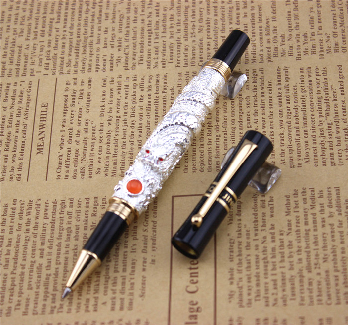 silver JINHAO ballpoint Pen School Office Stationery high quality dragon roller ball pens luxury business gift send a refill 004 latest design jinhao dragon and phoenix carving roller ball pen stationery luxury metal writing gift art collection pens