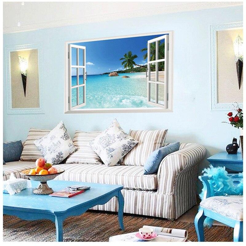Fantastic Beach Sea Window Wall Sticker Coconut Trees Ocean Window Wall  Decals Living Room Bedroom Home Part 87