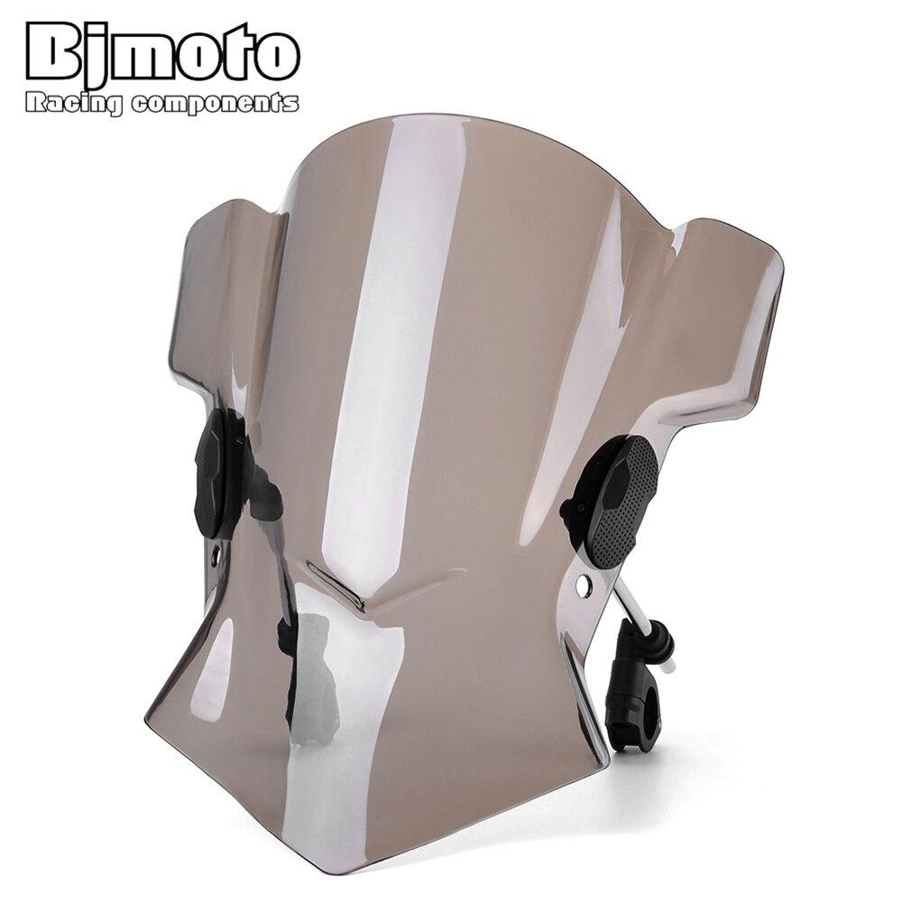 BJMOTO Universal Motorcycle Windshield Street Bike Windscreen For BMW F800R R Nine T 1200RS R1200RT S1000R MT03 MT25 Z750 Z1000