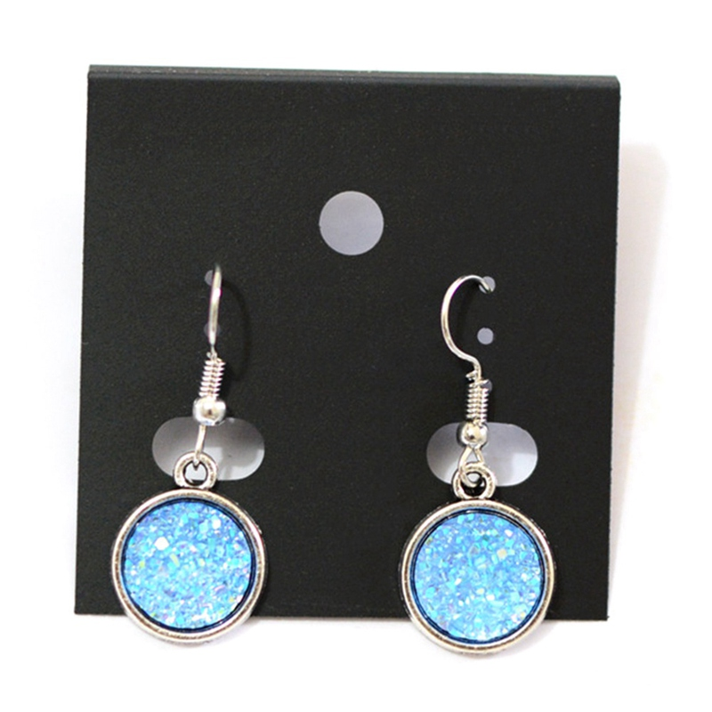 1 Pair Resin Drusy Drop Earrings Dull Silver Color Ab