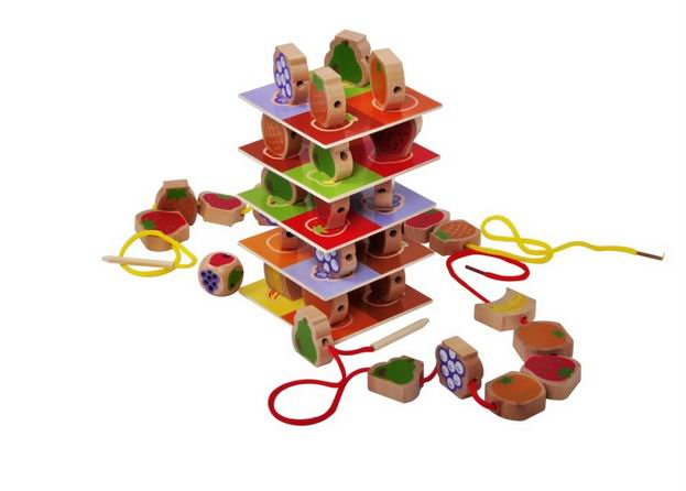 60 PCs Children wooden fruit piles tower blocks/ line beads balance blocks for Kids and Child learning educational toys,box pack