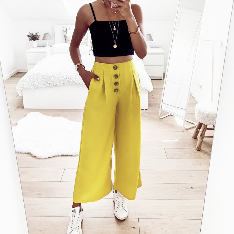 Kimuise Loose Trousers Summer Casual High Waist   Wide     Leg     Pants   Women Elastic Waist Ruched Button Ankle-length   Pants   Pantalones