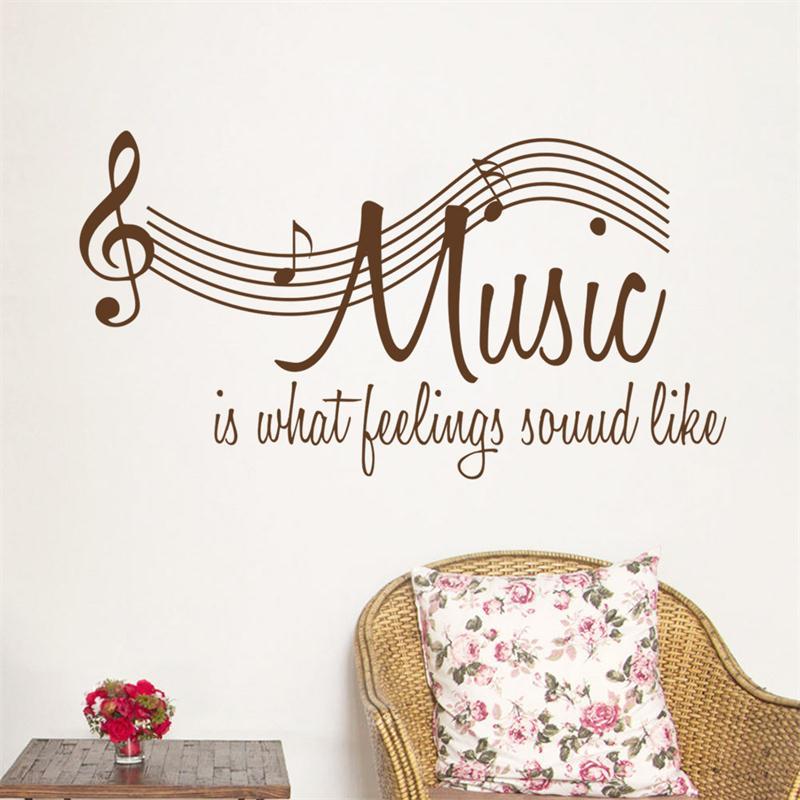 muziek spreuken engels Bruin wit 106*57 cm DIY Muziek Spectrum citaat thuis decal  muziek spreuken engels