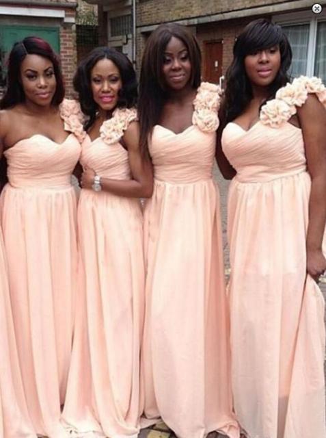 1100fd3ba71 Blushing Long Bridesmaid Dresses One Shoulder A-line Floor Length Summer Formal  Wedding Bridesmaid Robes For Black Women Sale