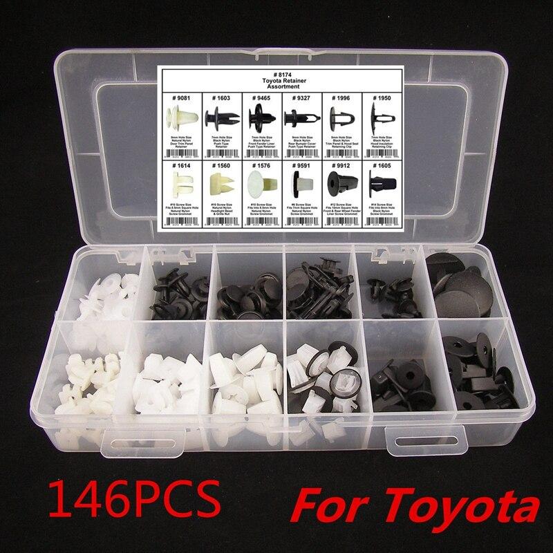 146 PCS De Voiture Auto Push Pin Rivet Garniture Clip Panneau Intérieur Du Corps Assortiment Set Pour Toyota