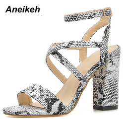 Aneikeh 2019 Summer New PU Shoes Women Sandals Sexy Open Toe Gladiator High Heels Women Shoes Big Size 41 42 Sandalias mujer 3