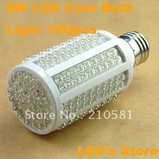 Free Shipping,Wholesale,9W, E27/E14 LED corn bulb light ,warm white,pure white, 180pcs LEDs,high quqlity,warranty 12 Months