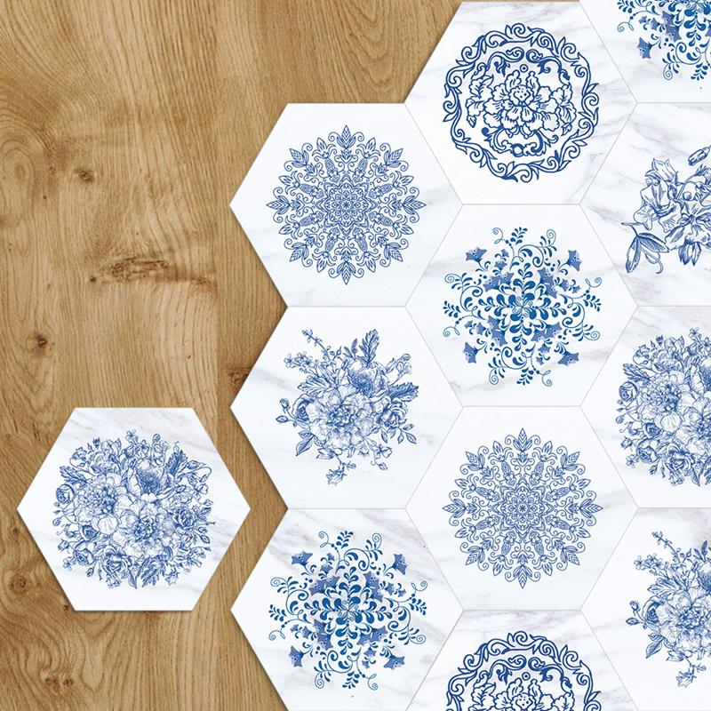 Hot Sale Youman Floor Stickers Blue White Porcelain Marble Anti Slip