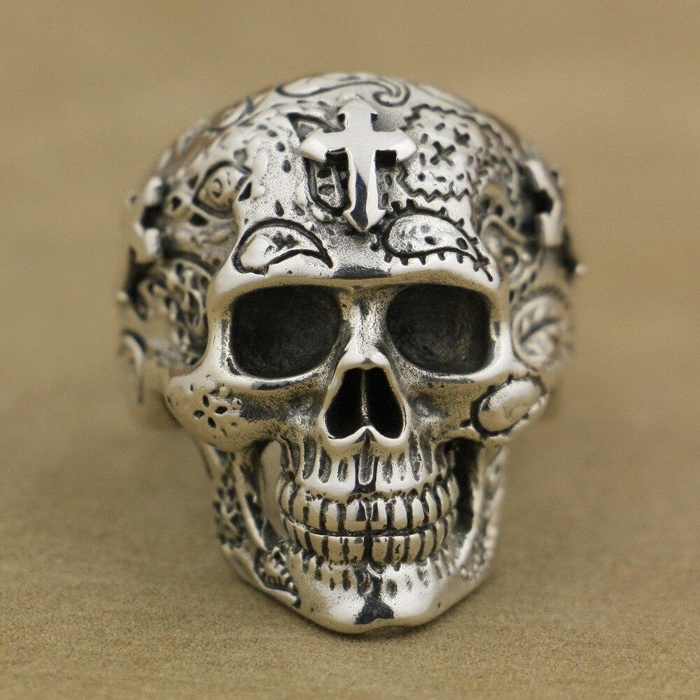 Takı ve Aksesuarları'ten Halkalar'de LINSION 925 Ayar Gümüş Yüksek Detay Kafatası iç içe yüzük Erkek motorcu yüzüğü TA55 ABD Boyutu 7 ~ 15'da  Grup 3