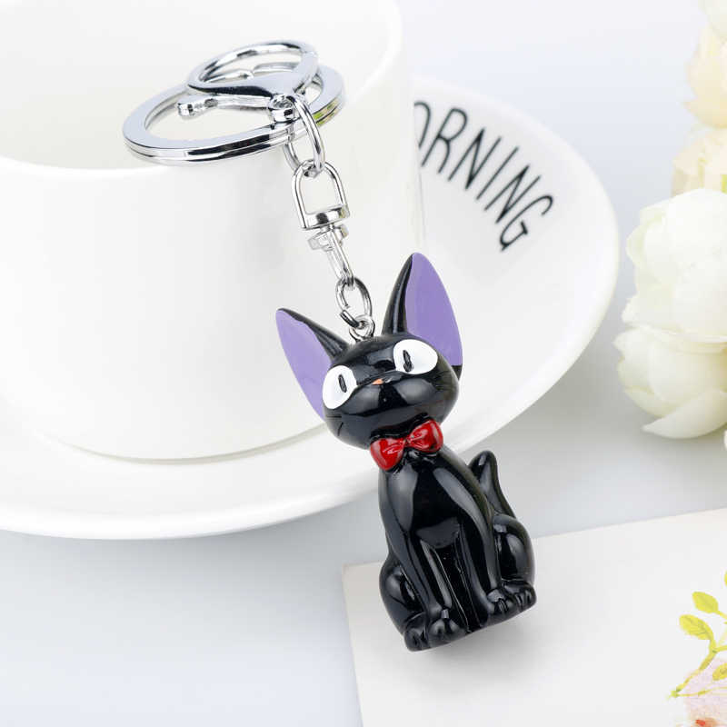 Pcv Kiki dostawy usługi Jiji czarny brelok do kluczy 3D żywica Hayao Miyazaki figurki Anime zabawka samochód brelok dzieci Brithday prezent