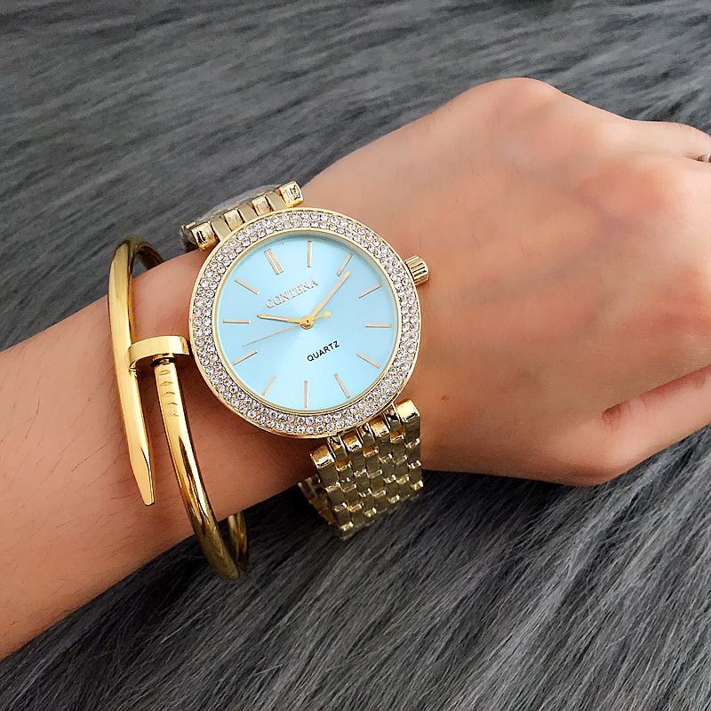 цены CONTENA Luxury Rhinestone Watch Women Watches Fashion Gold Women's Watches Ladies Watch Clock relogio feminino reloj mujer saat