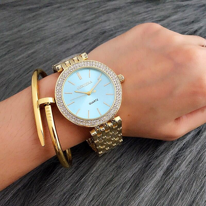 CONTENA luxe montre strass femmes montres mode or femmes montres dames montre horloge zegarek damski montre femme