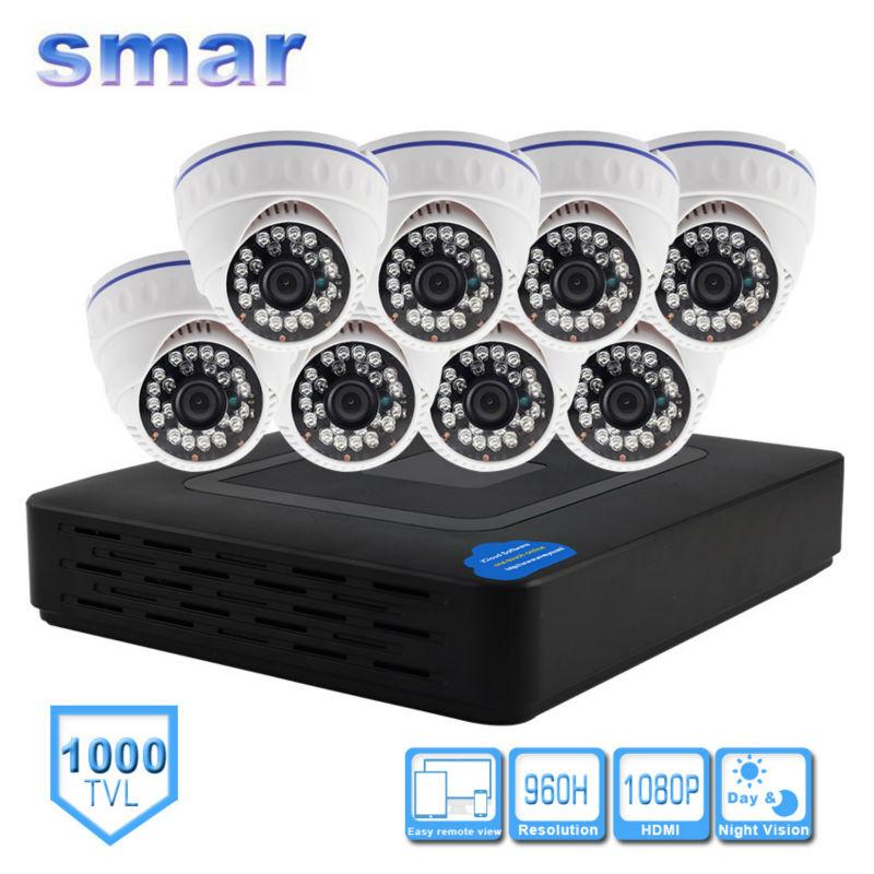 bilder für Smar H.264 8CH DVR 960 H Überwachungssystem 1000TVL Dome Kamera kit Mit 3,6 MM Objektiv Eingebauten IR-CUT Filter 24 IR LEDS kunststoff