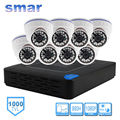 Smar H.264 8CH DVR 960H Surveillance System 1000TVL Dome Camera kit With 3.6MM Lens Built-in IR-CUT Filter 24 IR LEDS Plastic
