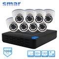 Smar H.264 Sistema de Vigilancia 8CH DVR 960 H 1000TVL Cámara Domo kit Con 3.6 MM Lente Incorporada IR-CUT Filtro 24 LEDS IR plástico