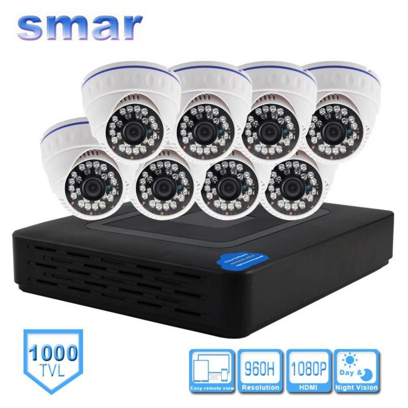 imágenes para Smar H.264 Sistema de Vigilancia 8CH DVR 960 H 1000TVL Cámara Domo kit Con 3.6 MM Lente Incorporada IR-CUT Filtro 24 LEDS IR plástico
