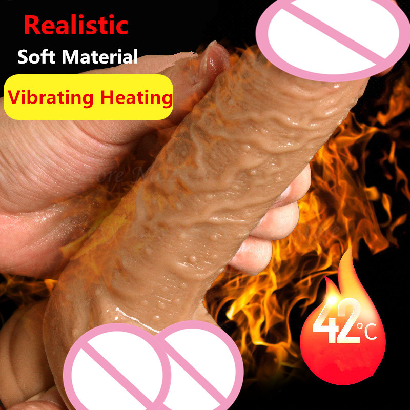 2018 New Super Realistic Heating Vibrating Dildo With Suction Cup Artificial Penis Soft Fake Dick Sex Toys For Woman Masturbator sexy business woman self heating 6x vibrating love skin masturbator