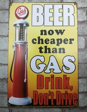 1 pc Beer Cheaper than gas oil petrol station Tin Plate Sign plate wall man cave Decoration Metal Art Dropshipping Poster metal