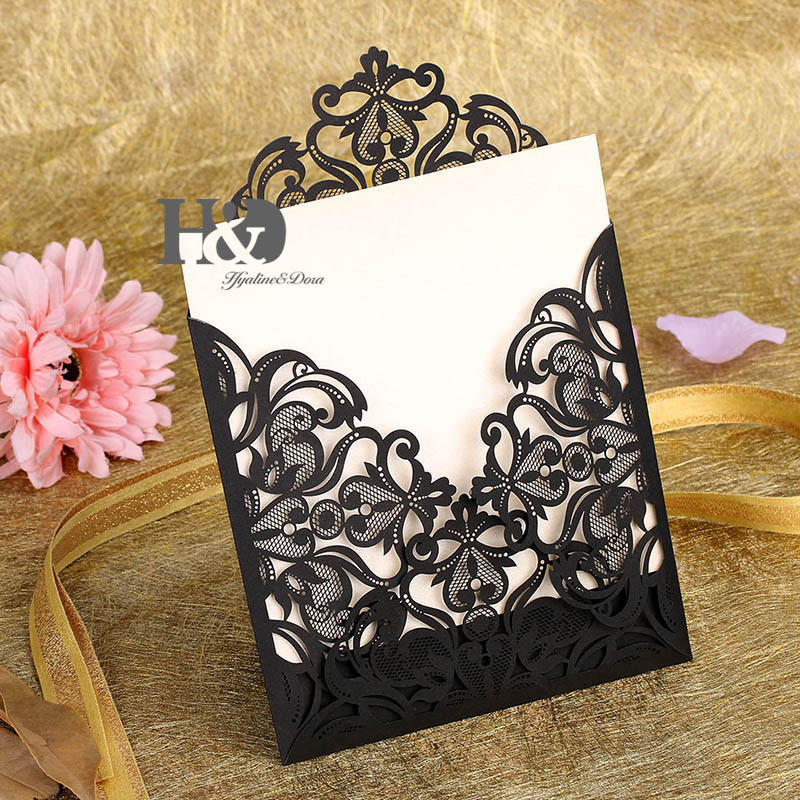 Wedding Invitations Business Cards Customized Laser Cut Lace Flower ...