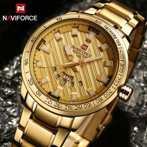 Image 2 - 2017 חדש יוקרה מותג NAVIFORCE שעונים גברים ספורט מלא פלדת קוורץ שעון איש 3ATM עמיד למים שעון היד הצבאי של הגברים שעונים