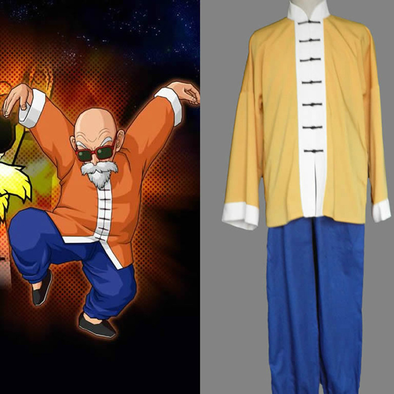 Anime Cosplay for Master Roshi from Dragon Ball Japan Cartoon KungFu Suit Vestidos Costume for Adult in Halloween Carnival Party