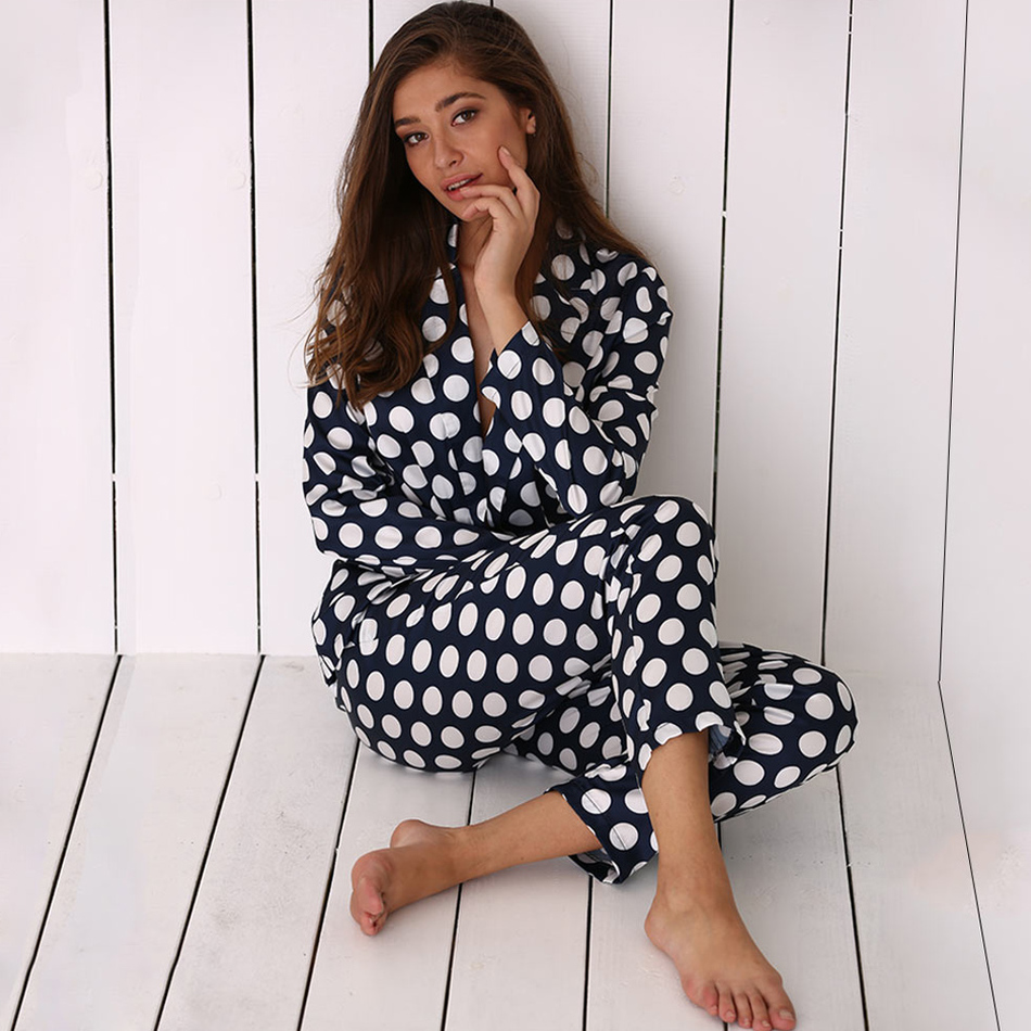 Autumn Spring Women Pajama Set Long Sleeve Sleepwear Lounge Wear Polka Dot Silk Soft Home Nightwear Sleep Shirt Pant Set Suit