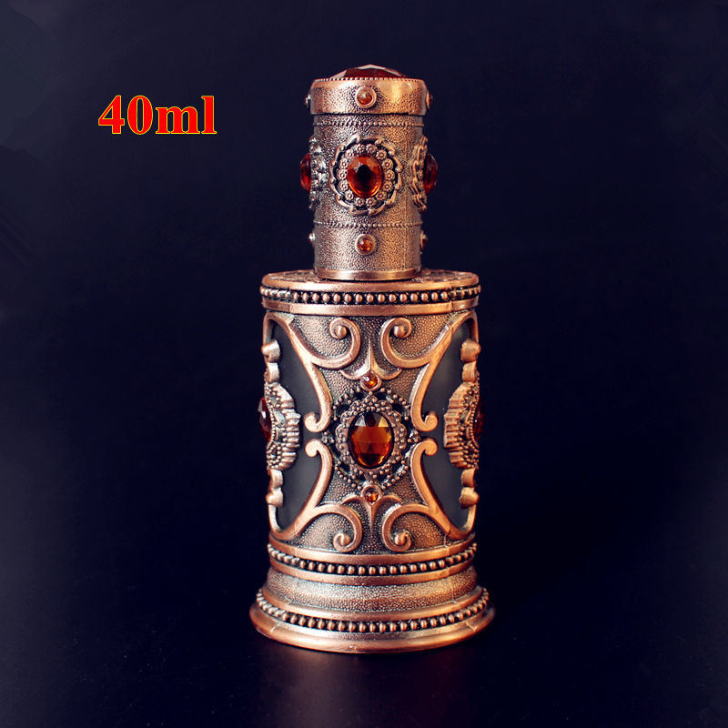 SAMBETTE 1PC 40ml Vintage Metal Perfume Bottle Empty Glass Spray Bottle Middle East Style Wedding Gift Decoration цена