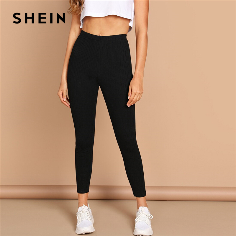 SHEIN High Waist Rib Knitted Solid Casual Leggings Women Spring Autumn Stretchy Fitness Midi Waist Skinny Basics Crop Leggings 1