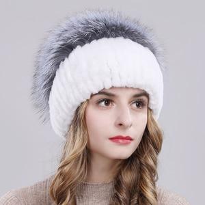 Image 3 - Outdoor Women Warm Soft Genuine Rex Rabbit Fur Hat Knitted Natural Real Sliver Fox Fur Caps Winter Real Rabbit Fur Beanies Hats