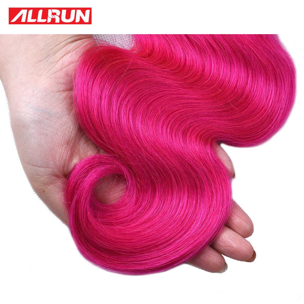 ALLRUN перуанские волнистые человеческие волосы пучки Цветные волосы объемная волна 1/3/4 пучки волос, тёмно-розовый Цвет Крашеные пучки волосы Remy для наращивания
